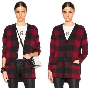 Current/Elliott Buffalo Plaid Cardigan - Small